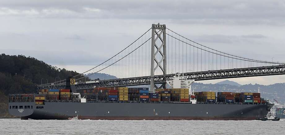 The MSC Fabiola, the largest container ship to ever visit San Francisco Bay, arrived Wednesday, March 21, 2012. The Fabiola has the capacity to carry 12,500 containers, about one third more than the ships that normally visit the Bay. Photo: Lance Iversen, The Chronicle