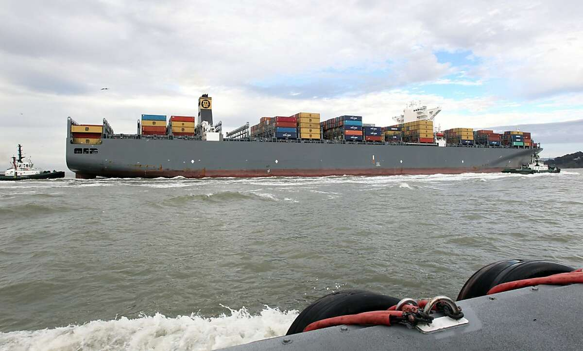 The MSC Fabiola, the largest container ship to ever visit San Francisco Bay, arrived Wednesday, March 21, 2012. The Fabiola has the capacity to carry 12,500 containers, about one third more than the ships that normally visit the Bay.