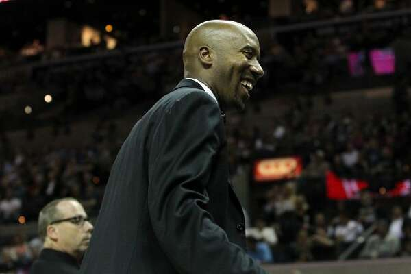 Former Spurs Bruce Bowen smiles at fans during a Spurs game against the Minnesota Timberwolves at the AT&T Center on Wednesday, Mar. 21, 2012. Bowen was honored during a jersey retirement ceremony. Kin Man Hui/Express-News. (San Antonio Express-News)