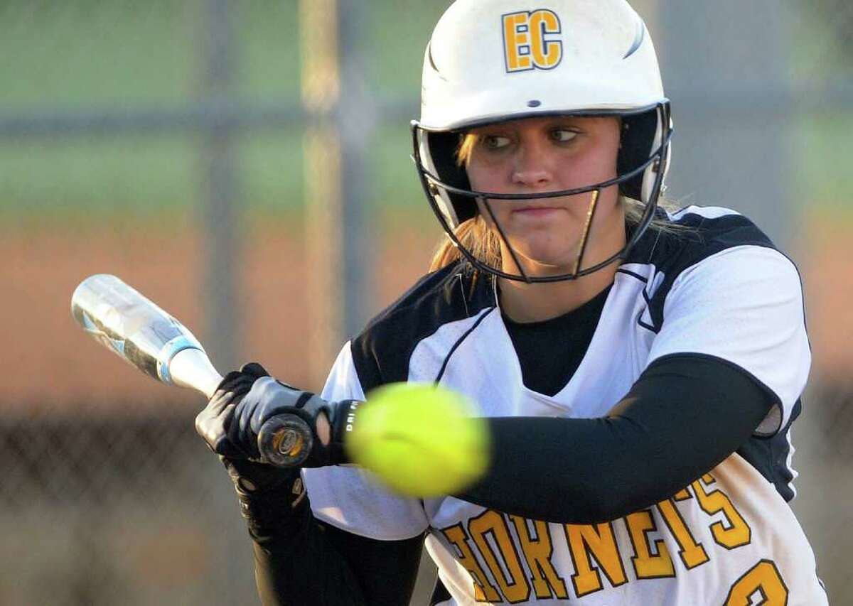Megan Dugie of East Central takes a called strike during softball action against Southwest at East Central High School on Wednesday, March 21, 2012. Billy Calzada / San Antonio Express-News