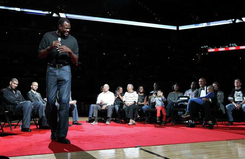 Former Spurs center David Robinson (left) tells a story about former teammate Bruce Bowen (right) as