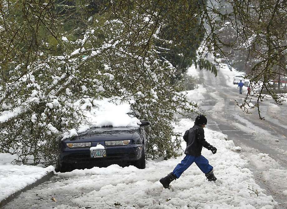 A child races past a downed tree atop a parked vehicle on Friendly Street after an overnight snowstorm Wednesday, March 21, 2012 in Eugene, Ore. The early spring snowfall closed schools,resulted in numerous power outages and downed trees and snarled traffic on area roadways. (AP Photo/The Register-Guard, Brian Davies) Photo: Brian Davies, Associated Press