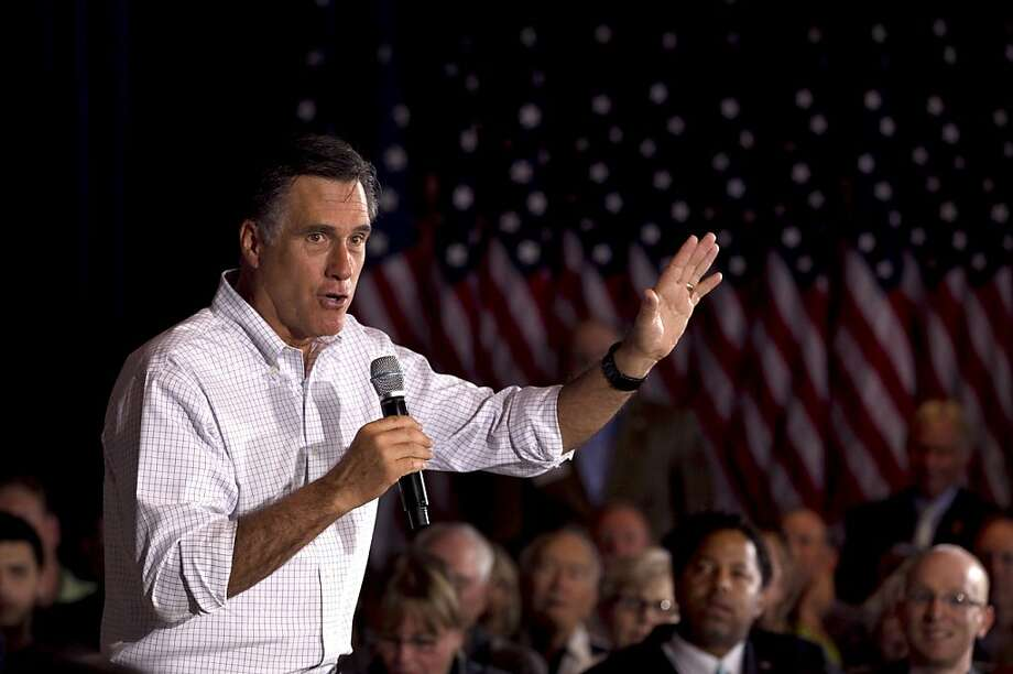 Republican presidential candidate, former Massachusetts Gov. Mitt Romney addresses an audience during a campaign stop at an American Legion post in Arbutus, Md., Wednesday, March 21, 2012. Photo: Steven Senne, Associated Press