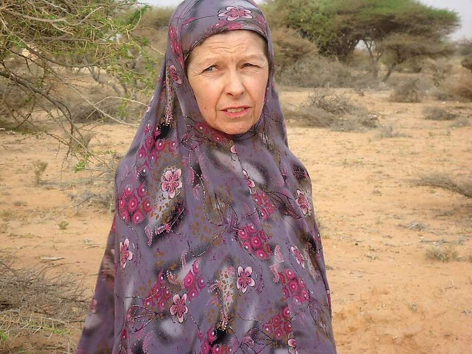 British hostage Judith Tebbutt, is pictured in the outskirts of Adado town in central Somalia on March 21, 2012. British hostage Judith Tebbutt was released in Somalia on March 21, 2012, more than six months after she was abducted from an isolated Kenyan resort by kidnappers who killed here husband. Photo: Str, AFP/Getty Images
