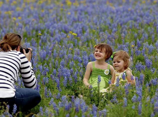 Addison Lewis, right, sits with her sister, Raegan, as their mother, Taylor Lewis, takes their picture while sitting in a field of Bluebonnets on Sunday, March 18, 2012, in Navasota, Texas. (AP Photo/David J. Phillip) Photo: David J. Phillip, Associated Press / AP