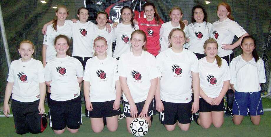 The Chatham U14 girls team won the Afrim's Indoor soccer league session 2 championship. The team finished the season 6-1-1.  , after their 6-1-1 season. Pictured are, front row, from left: Jess Behn, Old Chatham; Kalee Hennig, New Lebanon; Cassie Pearson, Canaan; Mercay Reuter, Craryville; Jamie Trombley, East Nassau; Paige Darcy, New Lebanon; Lizeth Gomez, Stuyvesant. Back row: Althea Mensing, Nassau; Danielle Wallace, Canaan; Macy Keegan, Kinderhook; Marti Paolucci, Canaan; Alice Acciani, Chatham; Meredith Richards, Kinderhook; Rachel Freedman, East Chatham; Shannon Van Tassel, Chatham. The team is coached by Bill Wallace of Canaan and Randy Reuter of Craryville.