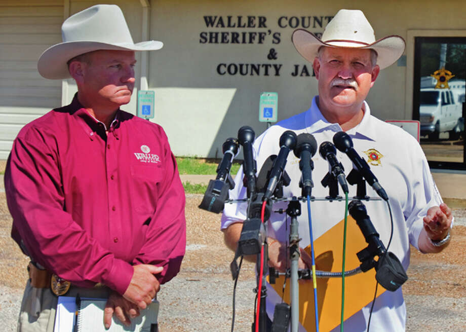 Waller Chief of Police Phil Rehak, left, and Waller County Sheriff, R. Glenn Smith, right, answer questions during a news conference regarding Trey Eric Sesler at the Waller County Sheriff's Office Thursday, March 22, 2012, in Hempstead. Authorities charged Sesler, 22, with capital murder on Wednesday in the deaths of his mother, father and brother. Law enforcement found their bodies the day before at the family home. Photo: .