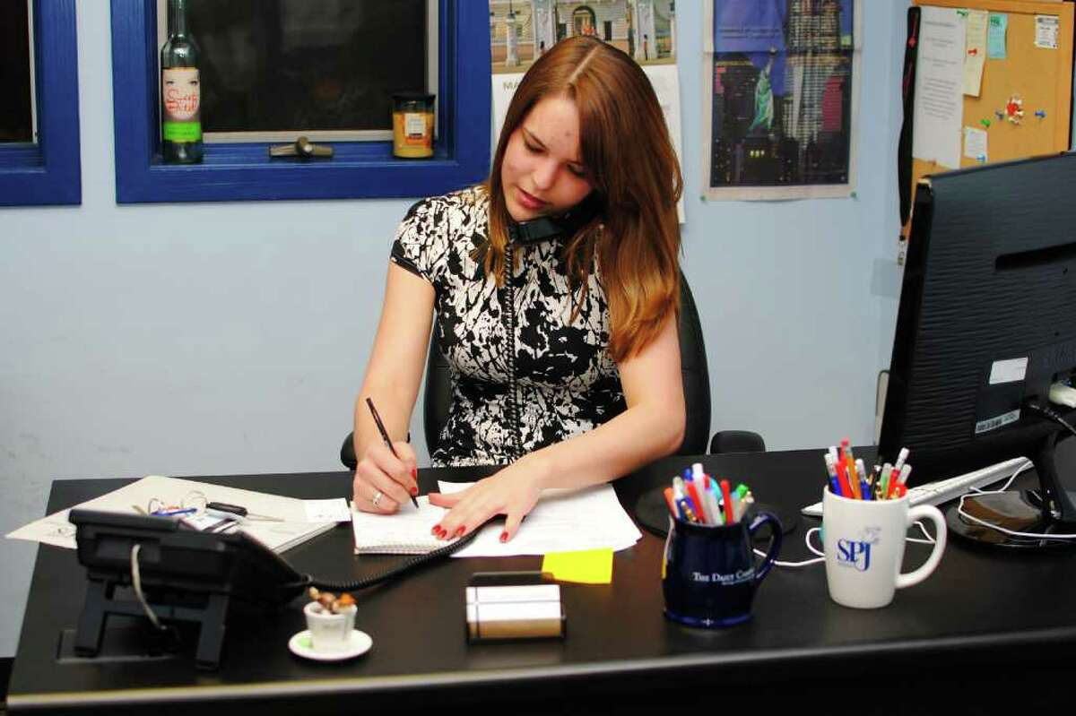 Melanie Deziel, Editor-in-Chief of The Daily Campus, works in the newspaper office on the University of Connecticut campus, in Storrs, Conn. March 21st, 2012.