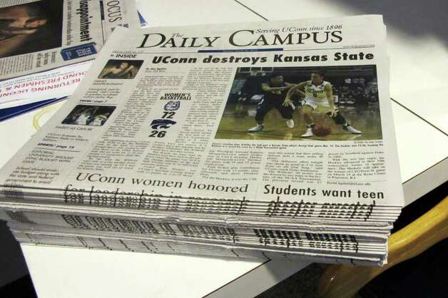 Stacks of The Daily Campus, the University of Connecticut's student newspaper. Photo: Linda Conner Lambeck / Connecticut Post