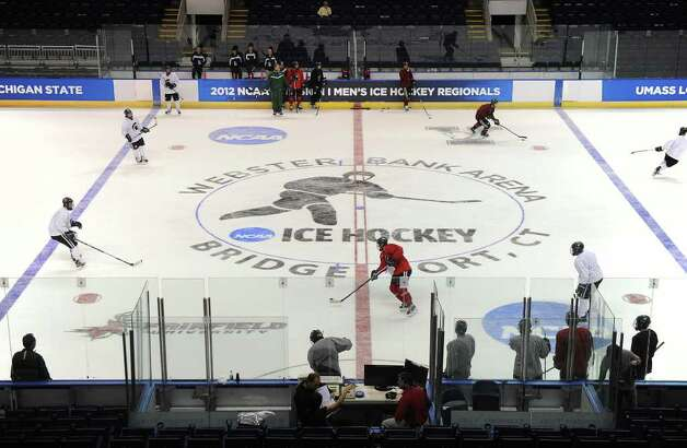Michigan State's hockey team practices at the NCAA Tournament East Regional in Bridgeport, Conn. on Thursday, March 22, 2012. Photo: Brian A. Pounds / Connecticut Post