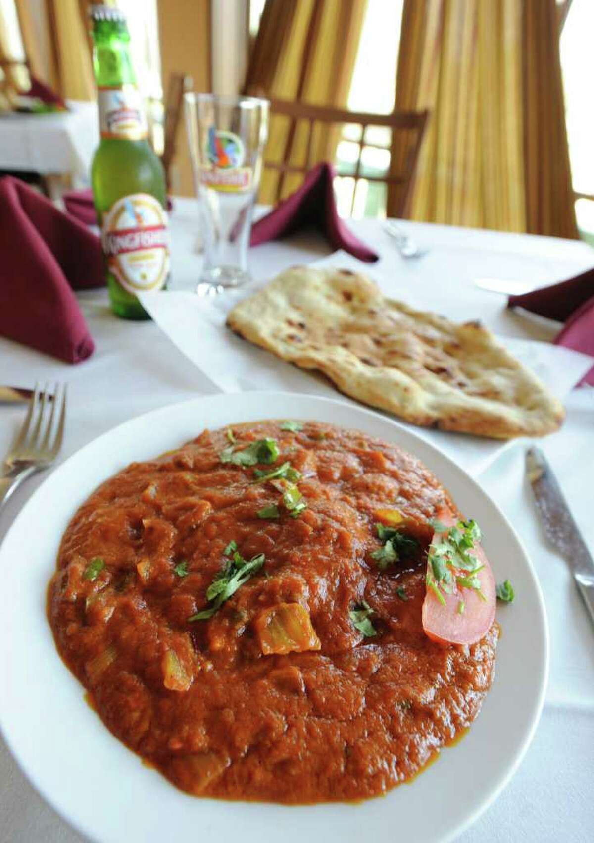 Lamb Jalfrazie with naan at Zaika restaurant on Tuesday March 20, 2012 in Clifton Park, N.Y. (Lori Van Buren / Times Union)