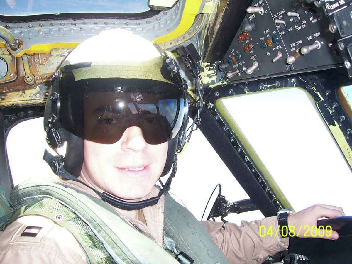 Pilot Lt. Steve Zilberman in the cockpit of an E-2C Hawkeye. Zilberman was at the controls of a Hawkeye on March 31, 2010 when one of its engines failed. His actions saved the lives of his 3-man crew, but Zilberman was killed.