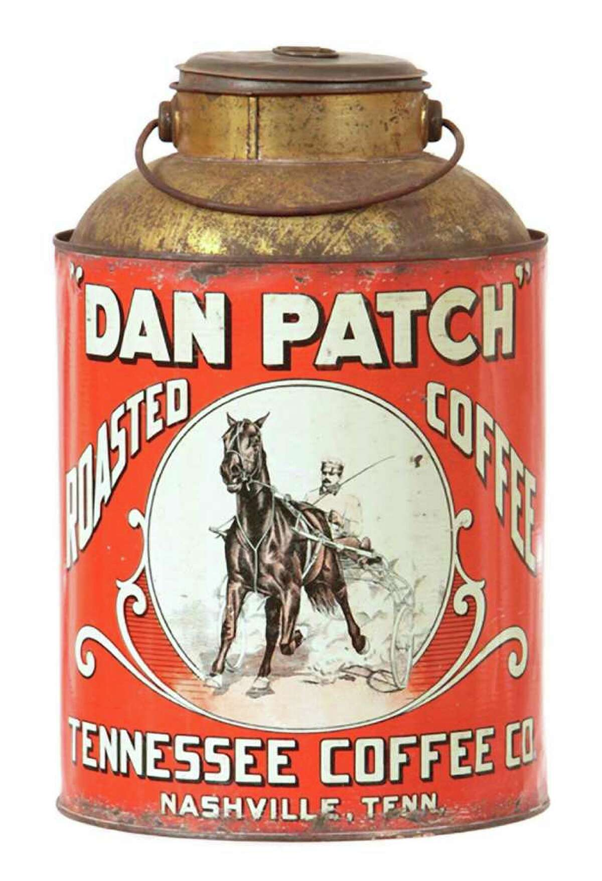 Dan Patch, a famous pacer, is pictured on this coffee tin. The horse was a celebrity in the early 1900s. Today his fame lives on in collectibles and, of course, in harness-racing record books. William Morford auctions, in Cazenovia, N.Y., sold this 11-inch tin for $2,035.