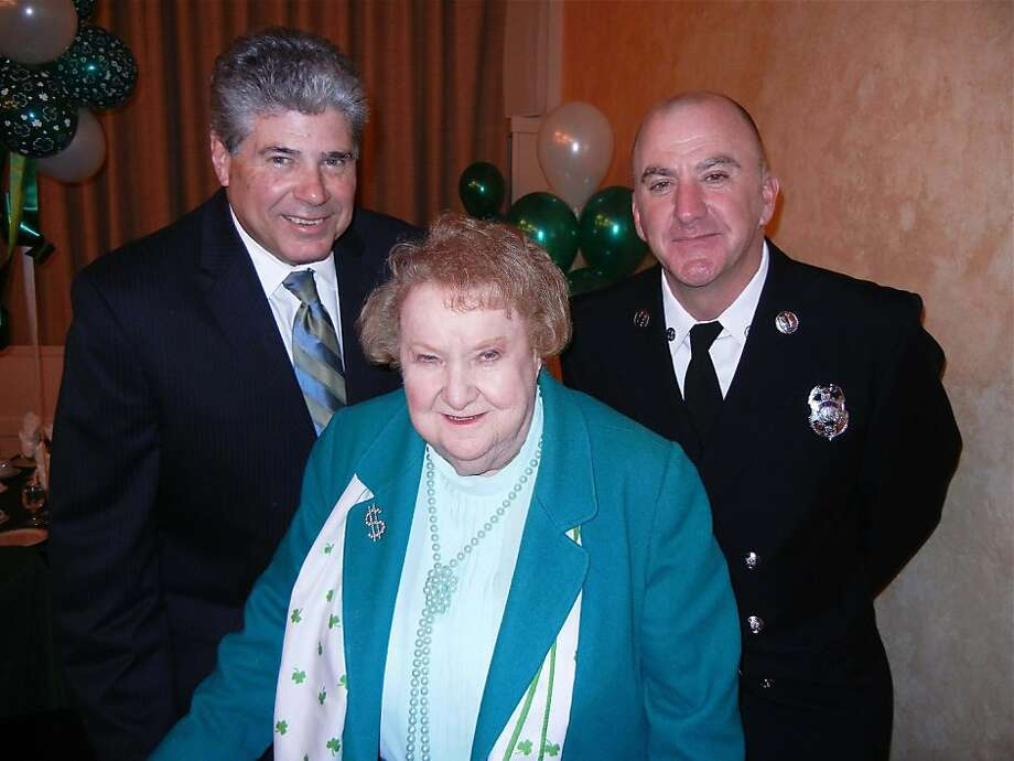 Triple I co-president and former City Treasurer Mary Callahan with honorees Tom Sinkovitz (left) and SFFD's Tom O'Connor at the Irish-Israel-Italian Society's St. Patrick's Day lunch. March 2012. By Catherine Bigelow. Photo: Catherine Bigelow, Special To The Chronicle