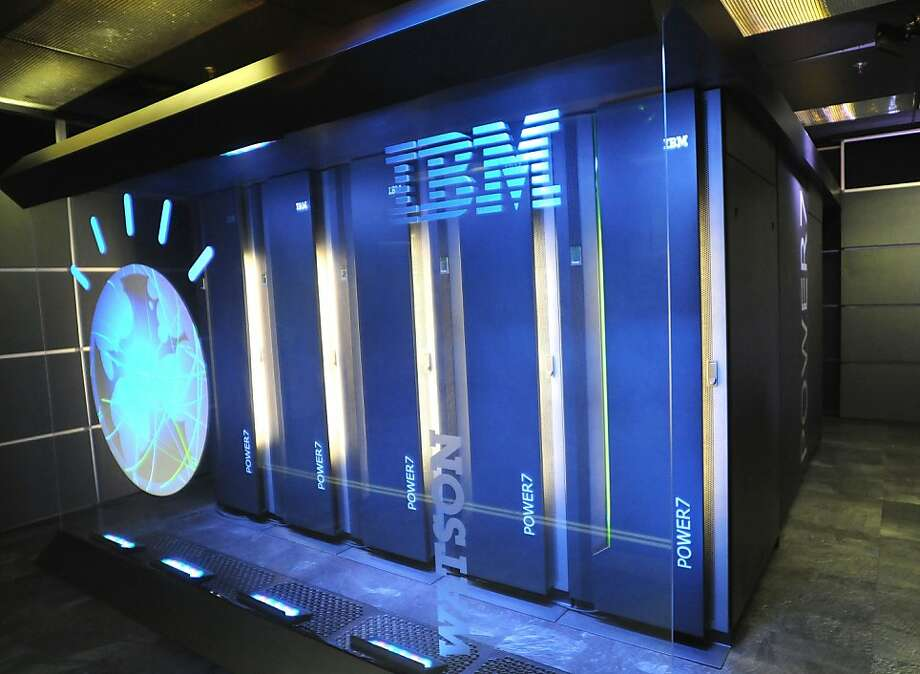The IBM computer Watson, planned to become something like Apple's Siri in a smartphone, at IBM's New York research site. Photo: Associated Press