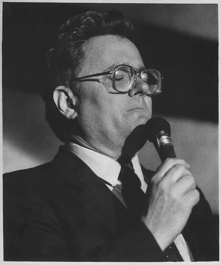 Harry Britt ran unsuccessfully against Nancy Pelosi for the congressional seat of the late Rep. Sala Burton in 1987. He is shown during his concession speech.   Photo was taken: 04/07/1987. Photo: Jeff Reinking, Associated Press