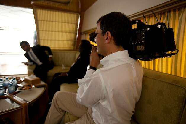 "Director Jon Shenk on location with Maldives president Mohamed Nasheed filming ""The Island President."" Photo: Lincoln Else, Samuel Goldwyn Films"