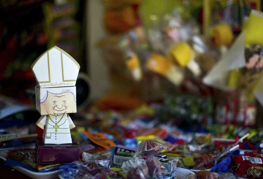 A little image of Pope Benedict XVI for sale is pictured in Leon, Guanajuato State, Mexico, on March