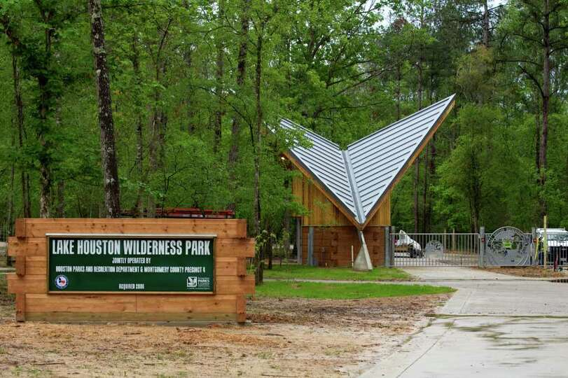 The front entrance of the Lake Houston Wilderness Park is ...
