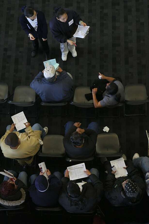 Patients seated in the medical wait area of the Oakland coliseum in Oakland, Calif., waiting for their turn on Thursday, March 22, 2012. Photo: Liz Hafalia, The Chronicle