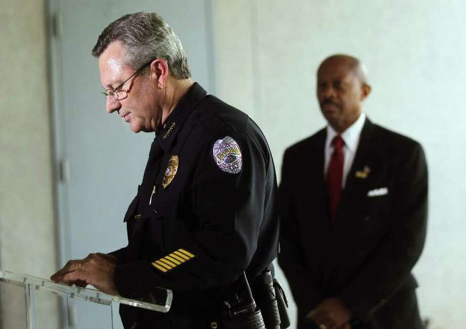 March 22, 2012 –Sanford Police Chief Bill Lee, left announces he would temporarily step aside in the shooting controversy. Less than three months later, he was fired. Later, he would tell CNN he felt forced out by his reluctance to charge Zimmerman despite public outcry. The same day, a petition on Change.org demanding Zimmerman's arrest reaches 1.3 million people. Photo: Mario Tama / 2012 Getty Images