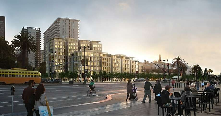 Opponents say the proposed project, shown in architect's illustrations, would wall off public sight lines. Supporters counter that it would include public space and amenities. Photo: Skidmore Owings And Merrill