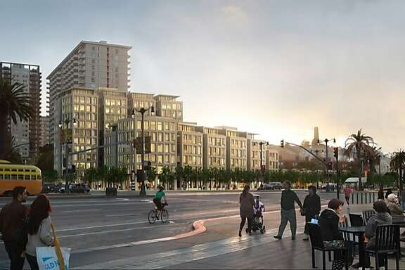 The proposed 8 Washington project would replace a parking lot and health club with a 12-story condominium building, a rebuilt health club and a new privately maintained park along the Embarcadero.