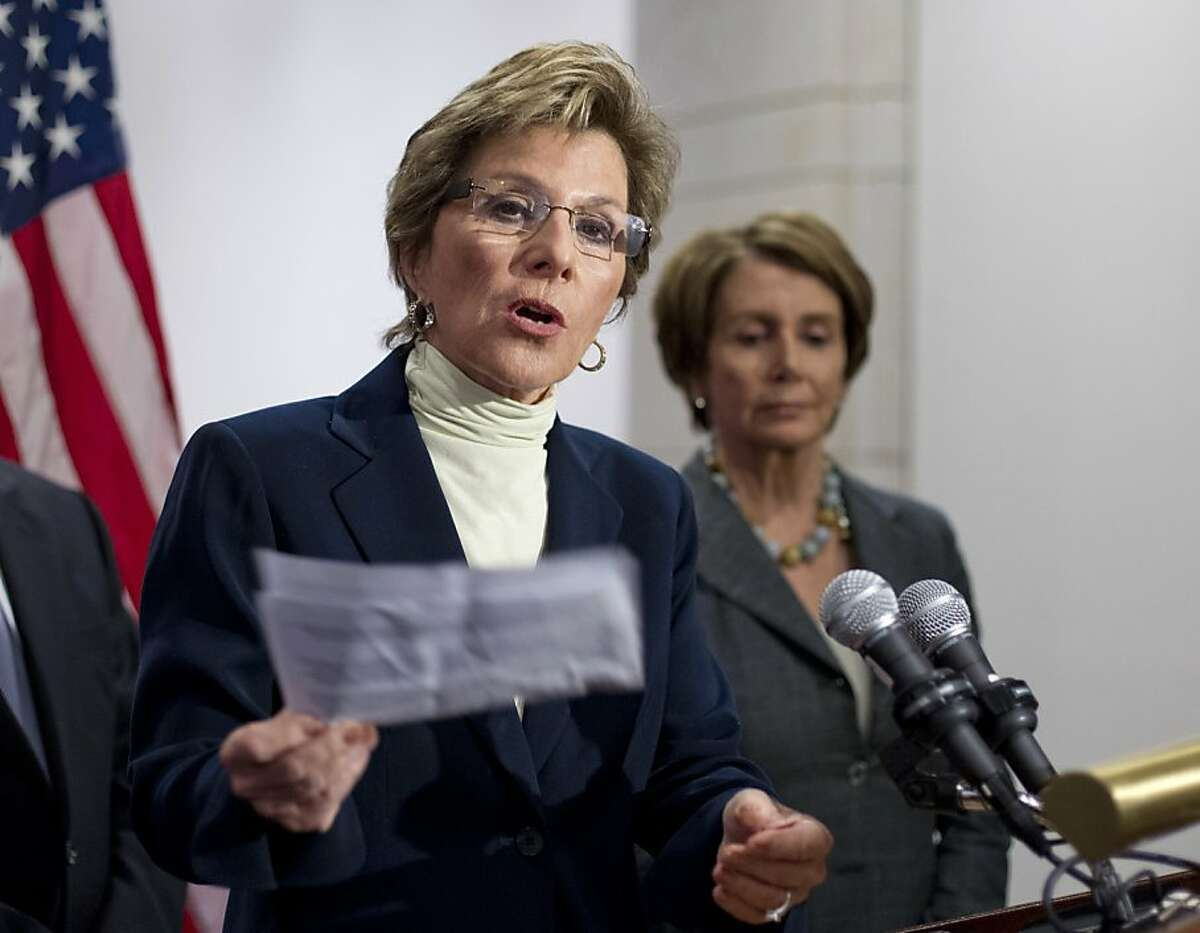 Senate Environment and Public Works Committee Chair Sen. Barbara Boxer, D-Calif., left, accompanied by House Minority Leader Nancy Pelosi of Calif., speaks during a news conference on Capitol Hill in Washington, Thursday, March 22, 2012, to urge the Republican leadership to take up the bipartisan Senate transportation bill.
