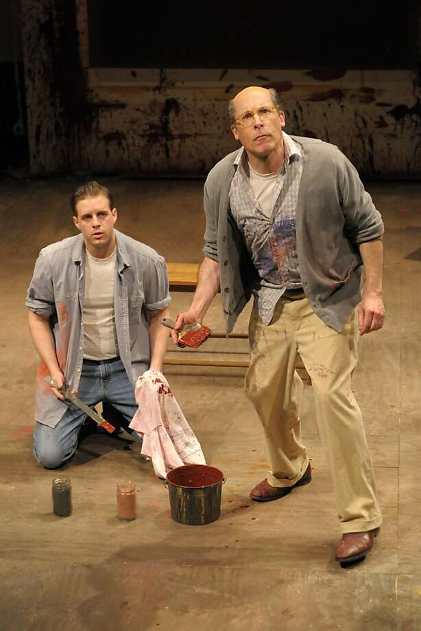 "Mark Rothko (David Chandler, right) and his assistant (John Brummer) engage in a battle of wits as they work on a large mural in Berkeley Rep's production of John Logan's ""Red"" (Photo with one actor is of Chandler as Rothko) Photo: Kevinberne.com"
