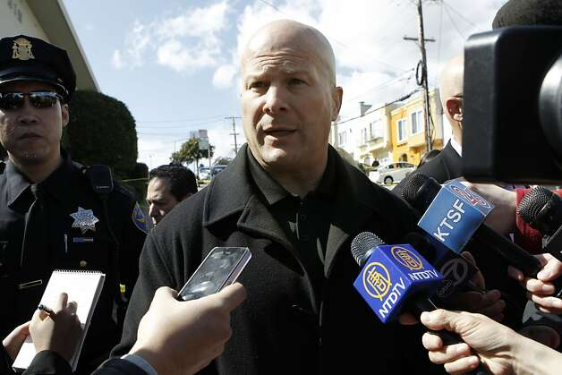 San Francisco Police Chief Greg Suhr and investigators on the scene at 16 Howth where five people were found dead inside the home, on Friday March 23, 2012, in San Francisco. Photo: Michael Macor, The Chronicle