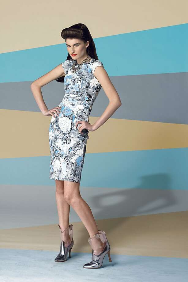 Erdem dress, $1,510, Barneys; Marc Jacobs boots, $895, Marc Jacobs, Marc Jacobs, 125 Maiden Lane; Erickson Beamon metal and lucent spike necklace, $649, Barneys New York. Spring Fashion 2012 Photo: Russell Yip, The Chronicle
