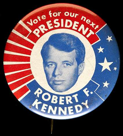 "RFK for President campaign pin from ""The 1968 Exhibit"" Photo: Whiting, Oakland Museum Of California"