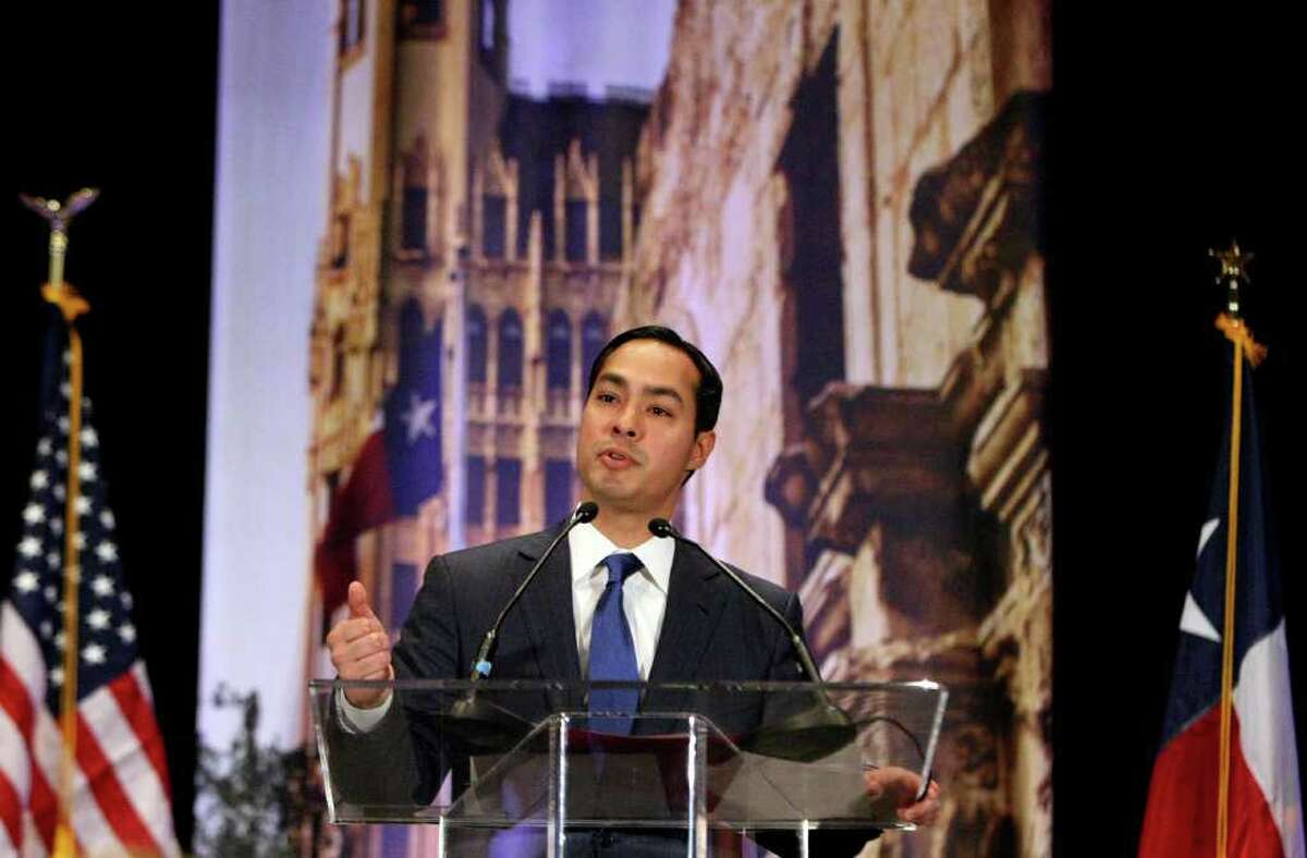 Mayor Julian Castro presents his annual State of the City address to San Antonio's chambers of commerce on Friday March 23, 2012.