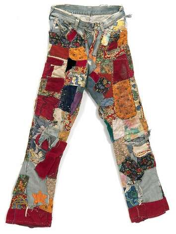 Pants made by Lorna, a self-proclaimed  flower child.  Lorna would add a new patch after attending a concert or event. Courtesy Minnesota Historical Society. Photo: Whiting