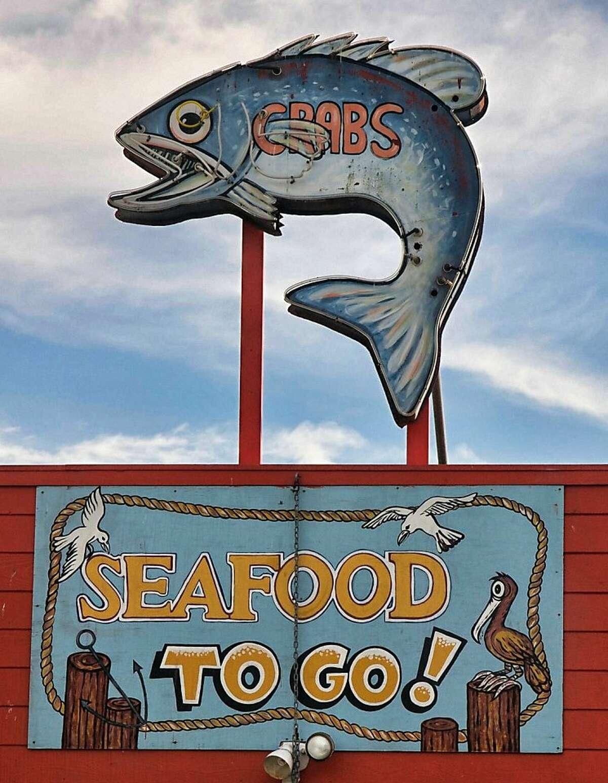 Sign at Barbara's Fish Trap, Princeton-by-the-Sea.