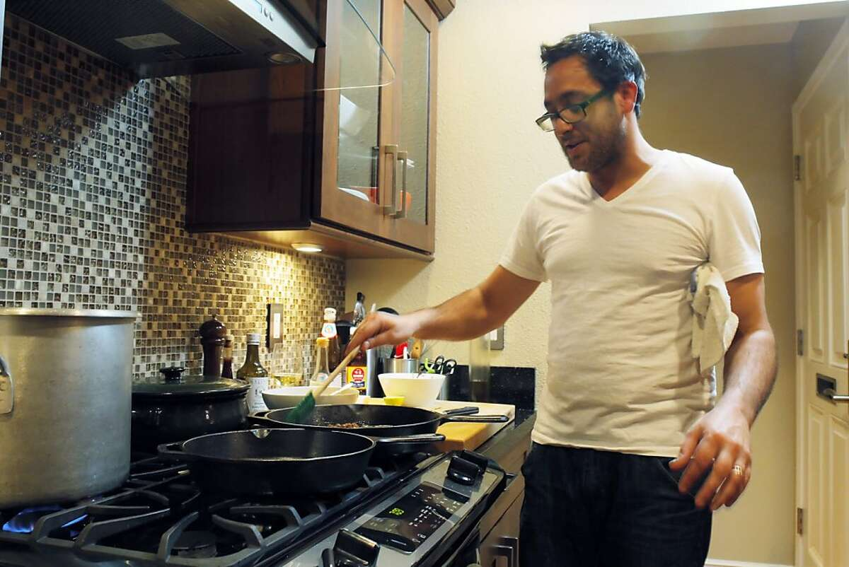 Christopher Kostow at work in the kitchen of his St. Helena home. Chef's night in with Christopher Kostow, executive chef at Meadowood in Napa on Sunday, February 12, 2012, in their St. Helena, Calif., home.