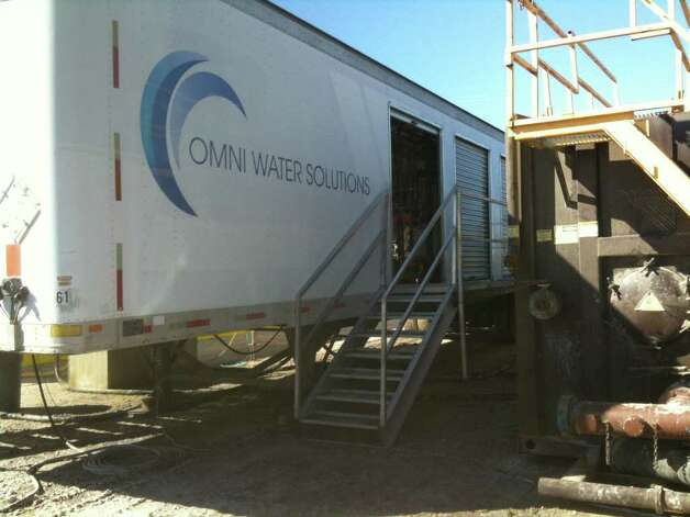 Omni Water Solution's water purification and recycling prototype is shown at a South Texas drilling site where it is being tested for recycling contaminated water used in the fracturing drilling process. Photo: COURTESY PHOTO