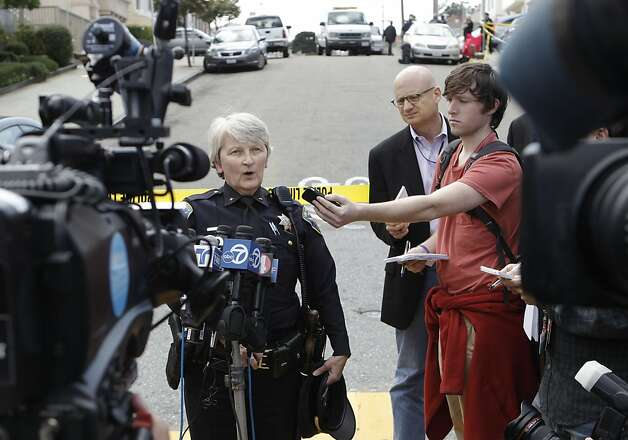 San Francisco Police Commander Lyn Tamioka, briefs the media, outside the home at 16 Howth St. near Ocean Ave., where five people were found dead inside, on Friday March 23, 2012, in San Francisco, Ca. Photo: Michael Macor, The Chronicle