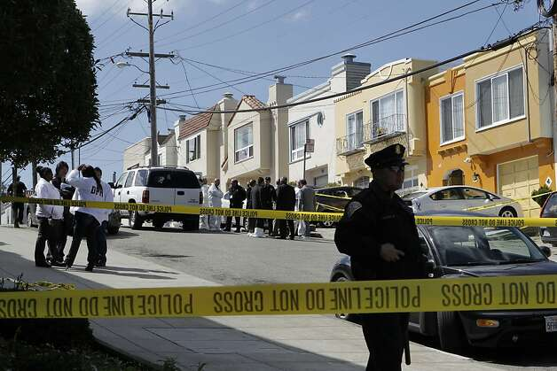 The San Francisco Police investigate the scene of what is believed to be a murder suicide,  at 16 Howth St. near Ocean Ave., where five people were found dead inside the home, on Friday March 23, 2012, in San Francisco, Ca. Photo: Michael Macor, The Chronicle