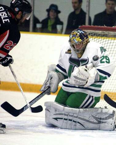Whalers goalie Peter Vetri is one of the main reasons the team is playing in the FHL finals beginning tonight against the New Jersey Outlaws. Photo: Barry Horn / The News-Times Freelance