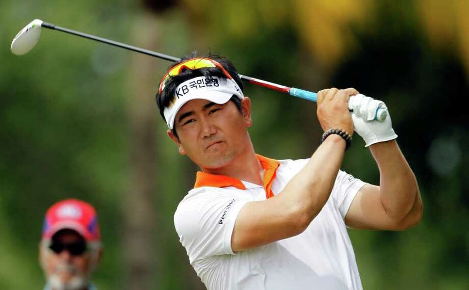 Y.E. Yang of South Korea hits from the 11th tee during the second round of the Cadillac Championship golf tournament on Friday, March 9, 2012 in Doral, Fla. (AP Photo/Lynne Sladky) Photo: Lynne Sladky, Associated Press / AP