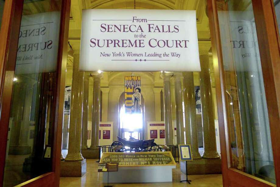 "Governor Andrew M. Cuomo announced the opening of an exhibit in the State Capitol that honors prominent New York women and their contributions to society the exhibit titled, ""From Seneca Falls to the Supreme Court: New York's Women Leading the Way,"" is on display on the second floor of the Capitol in Albany N.Y. ,Friday March 23, 2012. (Michael P. Farrell/Times Union) Photo: Michael P. Farrell / 00016954A"