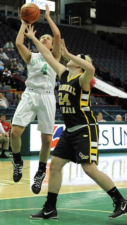 Marley Giddins of Irvington High School goes up for a layup against Sara DiPasquale of Cardinal O'Hara High School during the Class B Federation Tournament of Champions at the Times Union Center Friday March 23, 2012 in Albany, N.Y. (Lori Van Buren / Times Union) Photo: Lori Van Buren