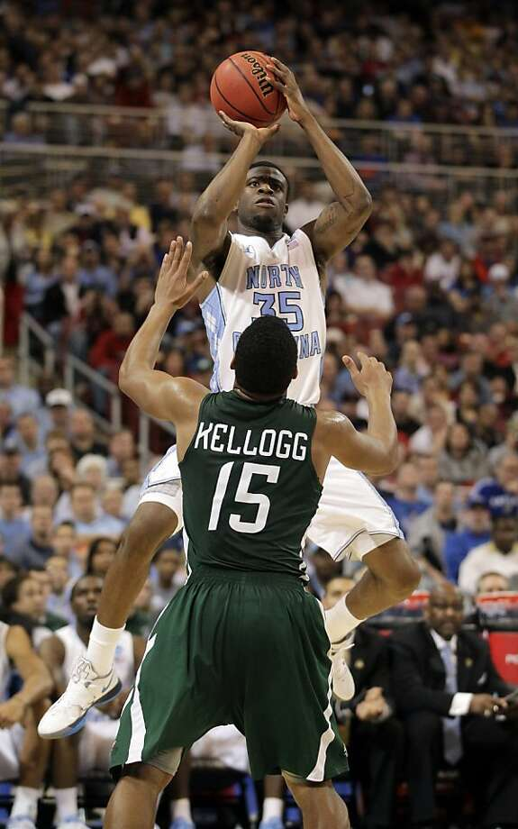 North Carolina Tar Heels' Reggie Bullock shoots over Ohio Bobcats' Nick Kellogg during the second half of an NCAA tournament Midwest Regional college basketball game Friday, March 23, 2012, in St. Louis.  (AP Photo/Jeff Roberson) Photo: Jeff Roberson, Associated Press