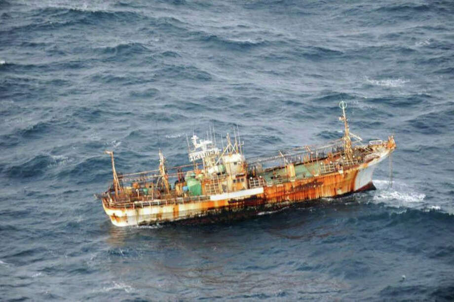 A Japanese fishing boat lost in the Pacific Ocean after the March 2011 earthquake and tsunami was sighted March 20, 2012  drifting 150 nautical miles off the southern coast of Haida Gwaii near British Columbia, Canada by the crew of an aircraft on a routine surveillance patrol. The vessel is considered an obstruction to navigation, and a Notice to Shipping has been issued by the Canadian Coast Guard. Photo: Canadian Department Of National Defence / AP