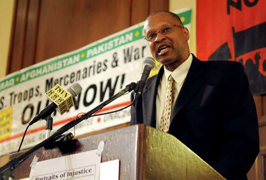 Jack Bryant, President of the Stamford NAACP, speaks during the United National Anti-War Coalition's conference at the Hilton hotel in Stamford on Saturday, March 24, 2012. Photo: Lindsay Niegelberg / Stamford Advocate