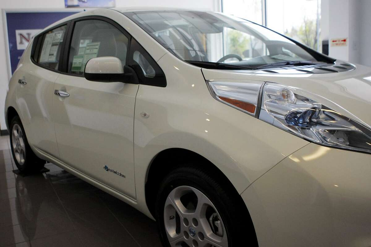 An all electric Nissan Leaf SL model at the Northbay Nissan dealership in Petaluma, Calif. on Thursday, March 22, 2012.