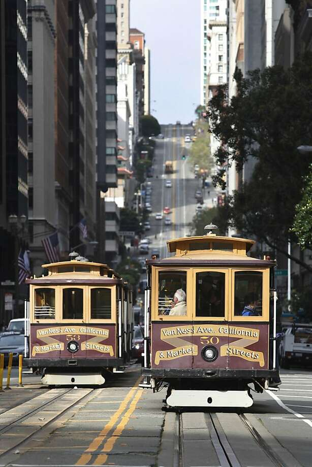 The San Francisco cable car California line moves along California street in San Francisco, Calif. on Wednesday, March 24, 2010. The California line will be closed beginning January 1 to July 1 for repairs and rebuilding funded through Measure K, the San Francisco transportation sales tax. Photo: Lea Suzuki, The Chronicle