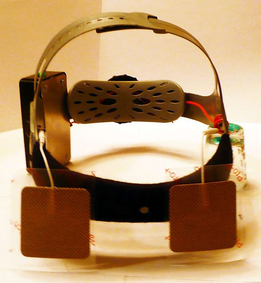 A prototype of the goFlow, a tDCS (Transcranial direct-current stimulation) device which which uses a constant, low current delivered directly to the brain via small electrodes to effect brain function. Photo: GoFlow