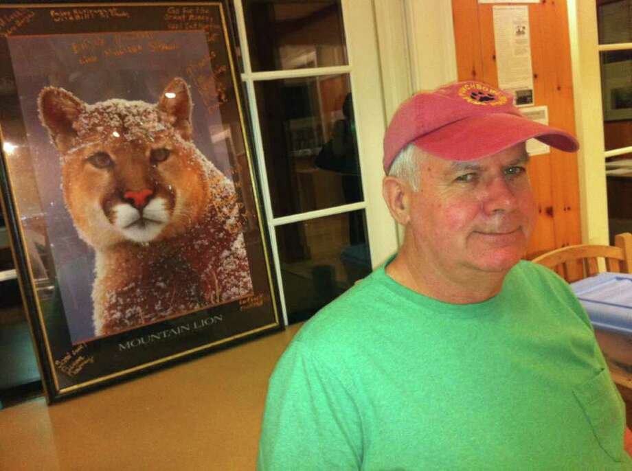 Bill Betty, a Rhode Island resident who researches and records mountain lion sightings, spoke at Greenwich Audubon Friday, March 23, 2012. He believes mountain lions are present in New England. A mountain lion was sighted in Greenwich last June. It is believed to be the same one struck and killed by a driver in Milford six days after being spotted in Greenwich. Photo: Frank MacEachern